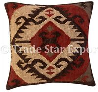 Indian Vintage Kilim Rug Cushion Cover 18x18 Hand Woven Jute Rustic Pillow Case
