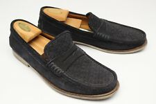 5d4a8d6076b Saks Fifth Avenue Mens Penny Loafers 10 Newman Black Suede Woven Casual  Shoes
