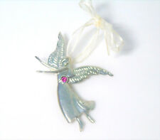 """NEW October Pink Tourmaline PEWTER ANGEL 3"""" Ornament Necklace Pendant Brooch Pin"""