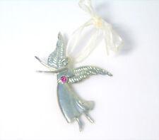 Nuevo Octubre TURMALINA ROSA Peltre Ángel 7.6cm Ornamento Colgante Collar Broche