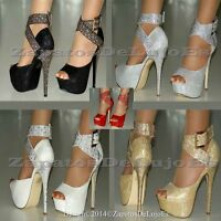 WOMENS NEW SILVER GOLD BLACK RED WHITE SHIMMER HIGH HEEL  STRAPS PEEP TOE SHOES