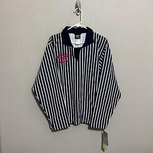 Umbro Striped Goalkeepers Jersey Polo Mens Sz Medium Shirt Navy White NWT