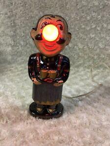 ANTIQUE VNTG ART DECO FIGURAL PORCELAIN MAJOLICA ARTS CRAFTS BOW BARTENDER LAMP