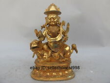 Tibet Mandkesvara Yab-Yum ride Lion Bronze Gilt gild Tantric Buddha Statue
