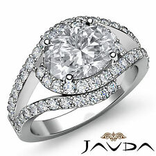 1.63 ct Oval Diamond Engagement Curve Shank Ring 14K White Gold G Color VS2 GIA
