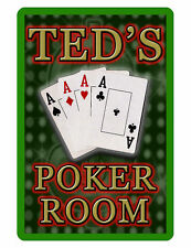 Personalized POKER ROOM Sign Printed with YOUR NAME Custom Quality Signs gren240