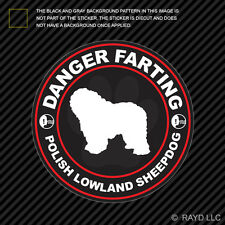 Danger Farting Polish Lowland Sheepdog Decal Self Adhesive Vinyl dog canine pet