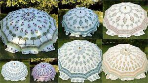 Indian White Handmade Beautiful Block Print Garden Patio Umbrella Parasol Shade