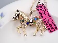 Betsey Johnson cute inlaid Crystal horse pendant necklace # F217J