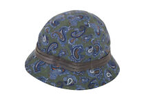 Wigens NWT Bucket Hat In Green With Blue & Orange Paisley Size 59, & & 3/8th
