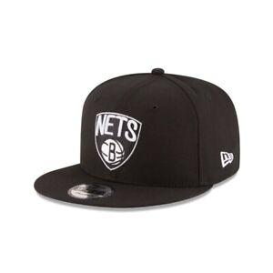 Brooklyn Nets New Era 9FIFTY NBA Adjustable Snapback Hat Cap Black Flat Brim 950