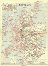 SCOTLAND. Showing counties; Inset central belt, Shetland Isles. BUTLER 1888 map