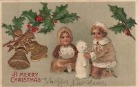 Postcard A Merry Christmas Children Playing baby Snowman