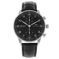 IWC Portugieser Chronograph Steel Leather Black Arabic Dial Mens Watch IW371447