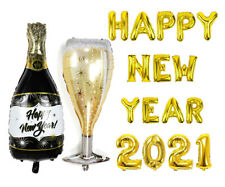 2021 Happy New Year Balloons Champagne Banner Balloons Party Decorations