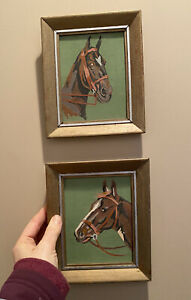 """Vtg Paint by Number Horse Heads Paintings Framed Set of Two Small Mini 7""""x6"""""""