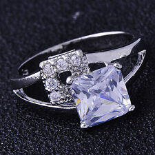 Womens Wedding Rings White Gold Filled Clear Cubic Zircon Crystal Ring Size 5.5