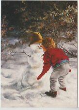 14  Christmas Greeting Cards ~  Boy & Snowman by Lori Peusch  1994  Dandelion