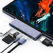 USB C Hub for iPad Pro 2018, 6 in 1 USB C to 4K HDMI Adapter with USB3.0, SD/TF