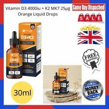 Vitamin D3 4000iu + K2 MK7 25µg Orange Liquid Drops I High Strength 30ml Bottle
