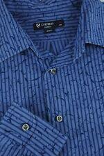 Daniel Cremieux Men's Blue Striped Vine Cotton Casual Shirt XL XLarge