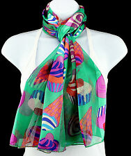 Cupcakes & Ice Cream Womens Novelty Green Gift Scarf Scarfs Ladies Scarves New