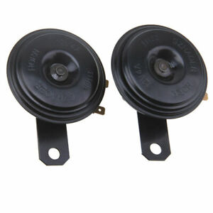 1 Pair Car Black Super Loud Grille Mount Compact Electric Horn Kit For 12V 120DB