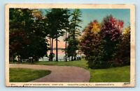 Raquette Lake, NY - VINTAGE ADIRONDACKS POSTCARD - GOLDEN BEACH CAMP SITE - B1