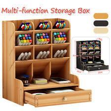Office Desk Organizer Desktop Pen Pencil Holder Container Storage Box w/ Drawer