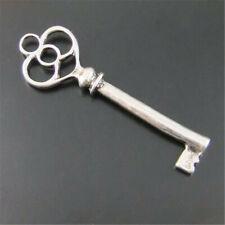 Vintage Silver Heart Top Retro Keys Alloy Pendant Jewelry Findings 60x20mm 50PCS