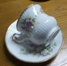 Vintage Rose & Cottage Motif Queens Rosina Fine Bone China Teacup & Saucer