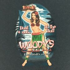 Woodys Cocktail Hut Mens Large Grey Hawaii T Shirt Bust A Nut At The Hut