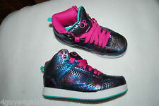 Girls Shoes HIGH TOP SNEAKERS Mock Snake Skin Look IRIDESCENT BLUE Hot Pink 13