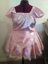 Baby Pink Satin Mini Maid Dress Sissy, TV, CD 20-24 Plus