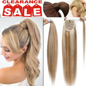 Thick Real Human Hair Ponytail Extensions Hair Wrap Around Clip In Hair Piece AU