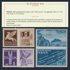 Regno d'Italia 1942 Propaganda di Guerra Non Emessi n. 12A/12C Centrati Ray MNH