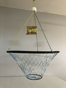CRAB TRAP NET TWO RINGS. Blue Camouflage Color Net.