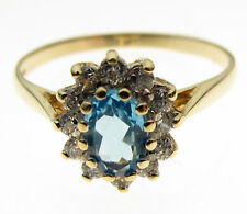 9 Carat Yellow Gold Ring, 6 x 4 mm Blue Topaz Cluster, Size N 1/2