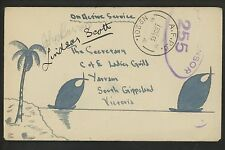 Postal History Australia Military Free Frank HP Hand Painted 1943 AFPO to Yarram
