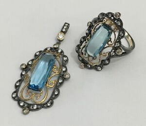 Aqua CZ Ring & Necklace in Sterling, w/ 14K Yellow Gold & Blk. Ruthenium Plating