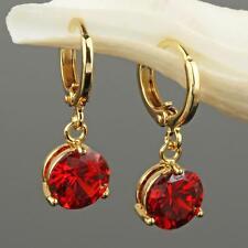 Luxus Ohrringe Zirkonia Kristall Rot 750er Gold 18K vergoldet UVP: 49€ O1438S