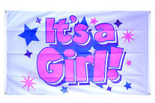 It's a Girl Flag - 5 x 3 FT 100% Polyester with Eyelets New Born Pink IE