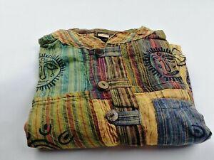 Patchwork Hippie Collarless Grandad festival shirt handmade nepali stripe yellow