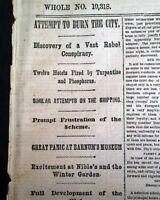 NEW YORK CITY Fire Plot & William T. Sherman's March 1864 Civil War Newspaper