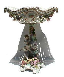 "Vintage ""Andrea by Sadek"" Cupid & Floral Centerpiece Compote"