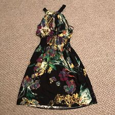 ARDEN B. Halter Dress- Size:Medium - Color:Black With Multicolored Floral Print