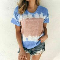 Womens Summer Short Sleeve Floral T Shirt Casual Loose Boho Beach Tops Plus Size