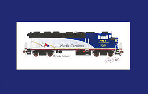 """NC By Train F59PH City of Kannapolis 11""""x17"""" Matted Print Andy Fletcher signed"""