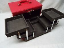 Red Expandable Carrying Make-Up Jewelry Storage Box Train Case Organizer NICE