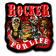 Rocker For Life Patch Iron on Biker Harley Rockabilly Motorcycle Club Music Race